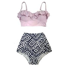 Mysterycat Women Vintage Swimwear Purple Top Blue Graphic Bottom Swimsuit