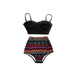 Women Black Top Tribal High Waist Bottom Swimsuit Midkini Swimwear Set