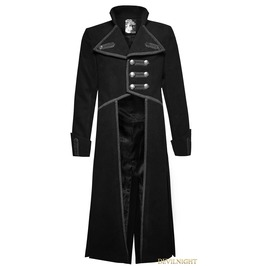 Black Military Unifrom Long Coat For Men