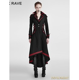 Black And Red Gothic Military Uniform Long Coat For Women