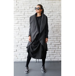 Grey Loose Asymmetrical Winter Coat / Oversize Long Sleeve Cardigan