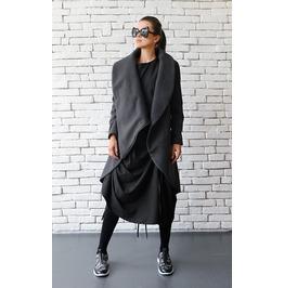 Grey Loose Asymmetrical Winter Coat / Oversize Long Sleeve Cardigan