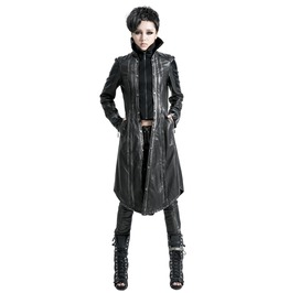 Punk Rave Women's Vintage Bronze Faux Leather Overcoat Y 422