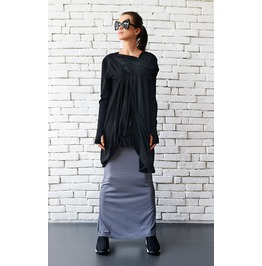 Long Sleeve Black Tunic/ Draped Tunic/ Black Dress/Oversize Kaftan