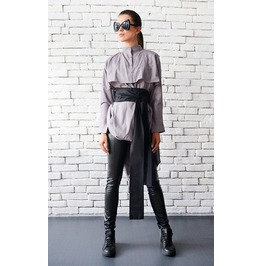 Oversize Casual Kimono Shirt/ Asymmetric Top/ Plus Size / Casual Shirt