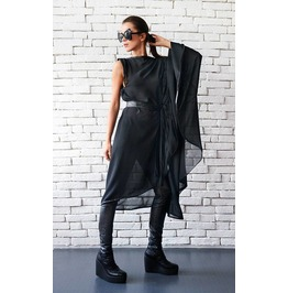 Black Loose Chiffon Tunic/ Sheer Tunic/Asymmetrical Top/ Plus Size Top