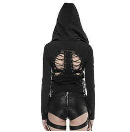 Punk Rave Women's Punk Backless Hooded Coat Black Y 662