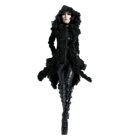 Punk Rave Women's Horn Button Hooded Irregular Overcoat Y 426