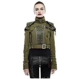 Punk Rave Women's Military High Collar Short Jacket Green Y 665