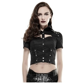 Punk Rave Women's Military Rivet Studded Short Sleeved Tops Black Y 666