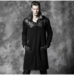 Punk Rave Men's Gothic High Collar Straps Woolen Overcoat Y 473