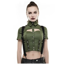 Punk Rave Women's Military Rivet Studded Short Sleeved Tops Green Y 666