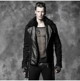 Punk Rave Men's Punk Zipper Faux Leather Motorcycle Jacket Y 486