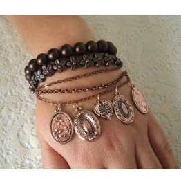 Boho Copper Charm Bracelet, Boho Bohemian Hippie Gypsy Hipster New Age