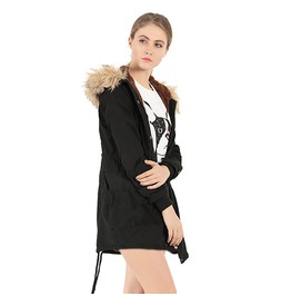 Women Warm Thicken Fur Hooded Overcoat Long Coat Jacket Outwear Parka Top