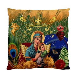 Virgin Mary & Jesus Sacred Heart With Sword Flowers Vintage Cushion Cover