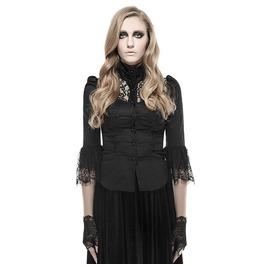 Punk Rave Women's Gothic Camellia Flower Lace Tops Black Y 668