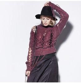 Women's Punk Hollow Out High Collar Handmade Knitted Woolen Sweaters Pm 030