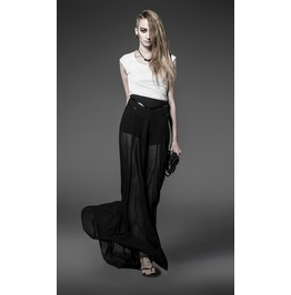 Punk Rave Women's Split Chiffon Maxiskirt Black Pq 032