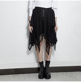 Punk Rave Women's Asymmetry Mesh Midi Skirt Pq 149