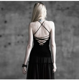 Punk Rave Women's Round Collar Lace Up Backless Tank Tops T 296