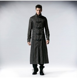 Punk Rave Men's Military Style Vintage Lace Up Overcoat Grey Y 548