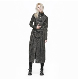 Punk Rave Women's Military Style Vintage Lace Up Overcoat Grey Y 548
