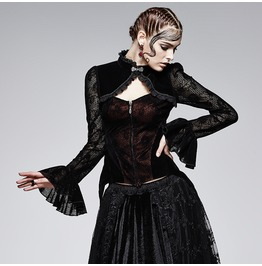 Punk Rave Women's Gothic Trumpet Sleeves Lace Tops Y 562