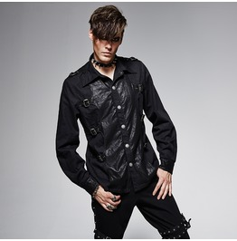 Men's Punk Buckle Up Denim Casual Shirt Black Y 563