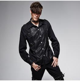 Punk Rave Men's Punk Buckle Up Denim Casual Shirt Black Y 563