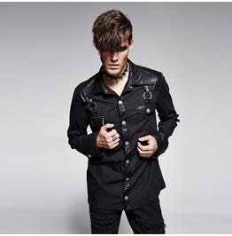 Punk Rave Men's Punk Double Pocket Denim Casual Shirt Black Y 564