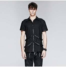 Punk Rave Men's Punk Short Sleeved Casual Shirt Black Y 575