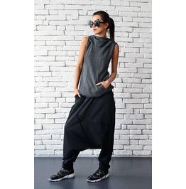 Extravagant Black Pants/Loose Casual Pants/Comfortable Drop Crotch Pants