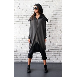 Asymmetric Extravagant Dark Grey Coat/ Cotton Zipped Jacket/ Long Sleeves