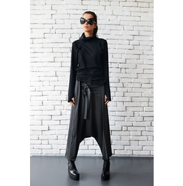 Grey Maxi Pants With Belts / Extravagant Oversize Harem Pants / Drop Crotch