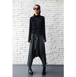 Grey Maxi Pants With Belts / Extravagant Oversize Harem Pants / Drop Crotch