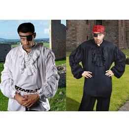 Mens Buccaneer Black Pirate Shirt Halloween Cosplay Costume $9 To Ship