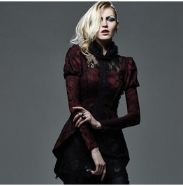 Punk Rave Women's Gothic Lace Forked Tail Tops Red Y 585