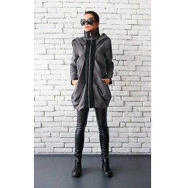 Loose Grey Winter Coat / Hooded Coat With Zipper / Maxi Pocket Grey Jacket
