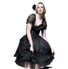 Women's Gothic Black Corseted Two Piece Punk Rave Prom Dress