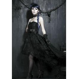 Women's Gothic Black Flocking Backless Punk Rave Elegant Dress
