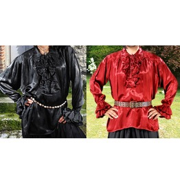 Unisex Black Or Red Satin Frilled Pirate Shirt Halloween Costume