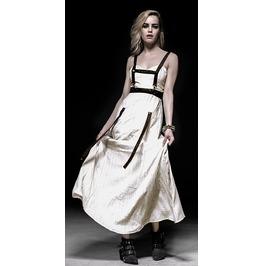 Women's Steampunk Style White Punk Rave Jet Printing Sleeveless Long Dress
