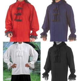 Mens Colonial Red Blue Black Or White Pirate Shirt Halloween Costume