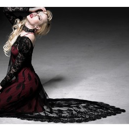 Women's Gothic Style Black/Red Punk Rave Two Piece Long Dress