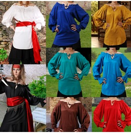 Ladies Off The Shoulder Pirate Blouse Blue Red Gold Black Halloween Costume