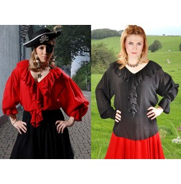 Ladies Pirate Gypsy Ruffle Blouse Red Black Halloween Costume $9 To Ship