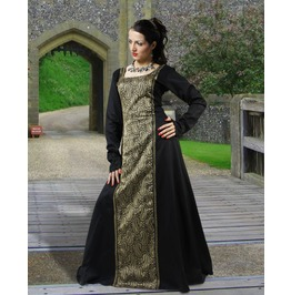 Medieval Lady Full Length Gold Black Dress Halloween Costume $9 To Ship