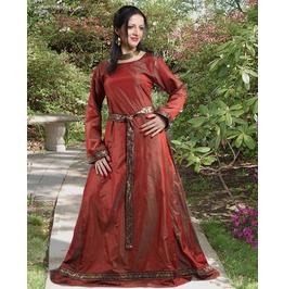 Medieval Queen Red Silk Full Length Dress Halloween Costume
