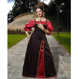 Medieval Princess Full Length Red Black Dress Halloween Costume $9 To Ship